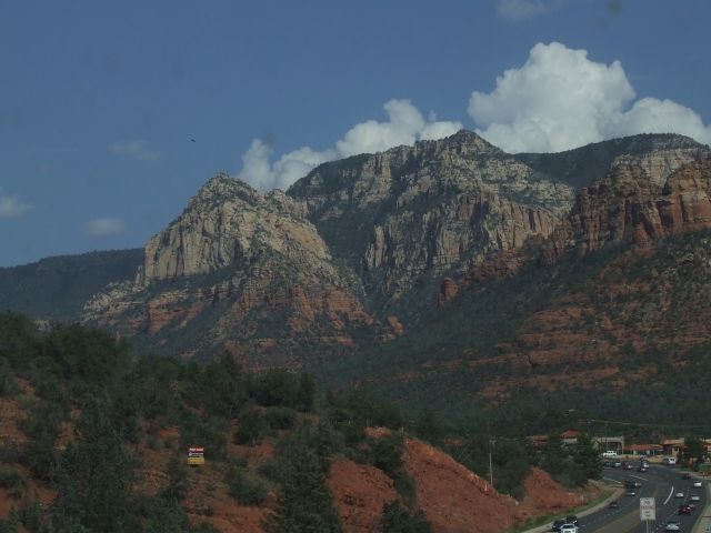 A white and red mountain outside of Sedona