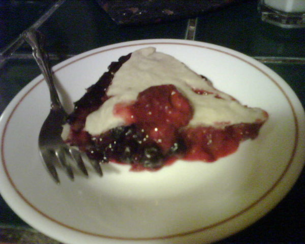 Pie. Really good pie with blueberries and strawberries in it.
